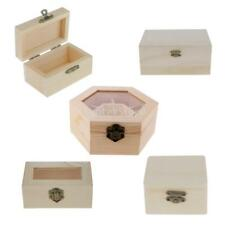 Handcrafted Natural Unpainted Wooden Jewelry Box Organizer Wood Trinkets Gifts
