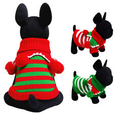 Cute Pet Dog Christmas Sweater Puppy Striped Knit Clothes Winter Jumper Apparel