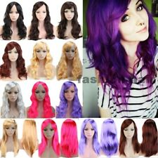Lady Girls Fancy Costume Wig Synthetic Hair Wig Long Curly Straight Wig Black F3