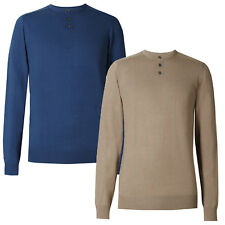 Marks & Spencer Mens Grandad Collar Cotton Rich Soft Knitted New M&S Jumper Top