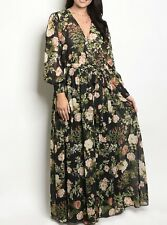Plus Maxi Dress Floral Black Chiffon Sheer Wrap Print Long Sleeve Wrap Sweep
