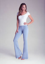 Bebe Jean Pull On flare Denim Sexy Designer Pants NWT Side Zipper