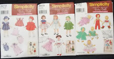 "Doll Clothes Pattern Simplicity Archives 18"" or Baby Doll You Choose"