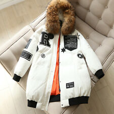 woman casual letter patch decoration raccoon fur 90% white duck down jacket coat