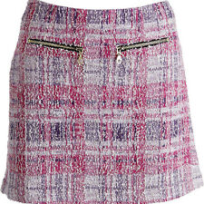 NWT JUICY COUTURE Black Label Pink Plaid A-Line Lined Skirt L M $168