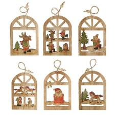 Wooden Christmas Tree Ornament Xmas Hanging Bell Pendants Decorations Kids Gifts