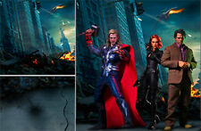 POSTER BACKDROP/SET~AVENGERS~NYC WAR 1 FOR 1/6 HOT TOYS THOR BLACK WIDOW MMS444