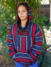 Mexican Baja Hoodie Poncho Pull-Over Red and Grey Stripes Jerga