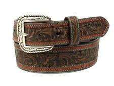 Nocona Western Mens Belt Leather  Floral Embossed Triple Stitched Brown N2410702