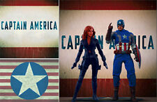 POSTER BACKDROP/SET~CAPTAIN AMERICA~LOGO FOR 1/6 HOT TOYS MMS242 MMS351 MMS365