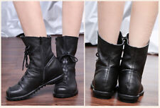 Womens Genuine Cowhide Leather Lace Up Zip Up Flat Ankle Black Boots-Size 6-10