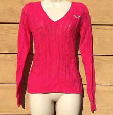 NWT Hollister HCO Women's V-Neck Cable Knit Sweater Pink or Red $44.50 MSRP
