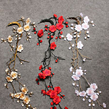 Lovely Embroidered Plum Blossom Flower Patch Iron/Sew on Applique Motif Craft*