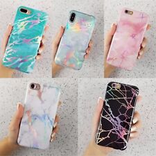Holographic Laser Glossy Marble Soft Rubber TPU Case Cover For iPhone Models