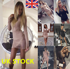 UK Women Deep V Hollow Out Long Sleeve Bodycon Evening Party Cocktail Mini Dress