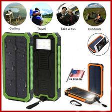20000mAh Power Bank Dual USB Portable Solar Battery Charger LED Light for Phone