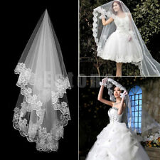 New White Ivory Cathedral Wedding Veil Lace Edge Appliques Bridal Veils 11613