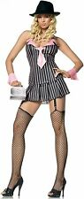 Leg Avenue Miss Mafia Gangster Dress Pinstripe Halloween Sexy Adult Costume, NEW