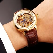 New Mens Auto Mechanical Genuine Leather Band Male Business Skeleton Wrist Watch