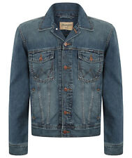 MENS WRANGLER TRADITIONAL WESTERN DENIM JACKET - STONEWASH BLUE DENIM