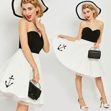 Vintage 1950s 50s Strapless Black and White Anchor Dress pin up nautical