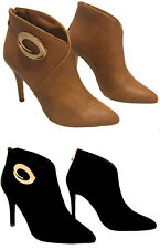 Stiletto Heel Low Ankle High Closed Pointed Toe Gold Round Accent Booties Boots