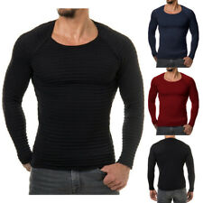 Mens Casual Slim Fit Crew Neck Shirt Jumper Pullover Sweater Muscle T-shirts New