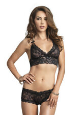 Leg Avenue 81504 2Pc Stretch Lace Halter Bra And G-String Booty Short