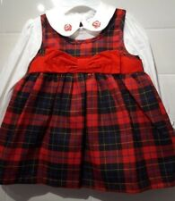 Spanish Style Baby Girls Red Tartan Pinafore Dress With Top