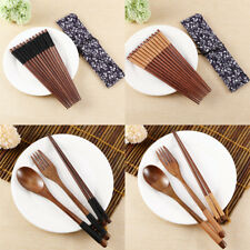 Chopsticks Fork Spoon Classic Bamboo Chestnut Wood Assorted Japanese Gift
