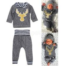 Christmas Newborn Infant Baby Boys Girls Bodysuit+Deer Pant+Hat Clothes Outfits
