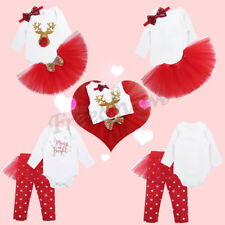 Infant Kids Baby Girls Christmas Outfit Romper Polka Dots TUTU Top Pants Costume