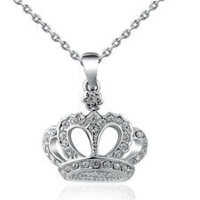 Charm Gold Silver Crown Crystal Clavicle Chain Pendant Necklace Jewelry