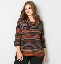 AVENUE Striped Cowlneck Hacci Top