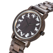 Fashion Casual Mens Wooden Watch Animal Pattern Big Dial Quartz Males Watches