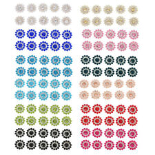 Clear Rhinestone Flower Fuax Pearl Shank Buttons Sewing Craft 12 Colors 10 Pcs