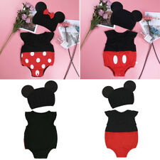 Infant Baby Girl Minnie Costume Boy Mickey Romper Outfits Bodysuit+Hat Photo Set