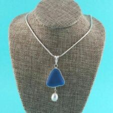 Turquoise Sea Glass Pendant/Necklace with Pearl