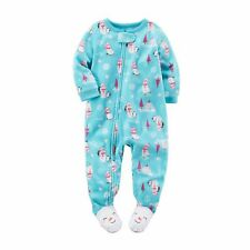 Carters Toddler Girls One-Piece Footed Microfleece Sleeper - Blue Snowman