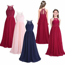 Kids Girls Lace Halter Flower Dress Princess Pageant Wedding Birthday Party 4-14