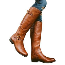 Womens PU Leather Riding Equestrian Zip Up Flat Buckle Boots-Size 6-10.5