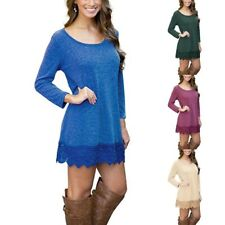 New Womens Long Sleeve Lace Pattern Round Neck Blouse Jumper Tops Shirt Dress