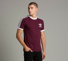 Genuine Adidas Men's Trefoil Burgundy California Tees Crew Neck Retro T Shirts