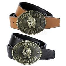 Country Western Cowboy Leather Waist Belt COWBOYS OF FAITH Buckle Mens Belts