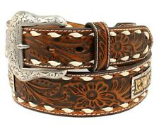 Nocona Western Mens Belt Leather Floral Embossed Laced Conchos Tan N2414808