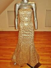 Vintage Designer gold metallic mermaid gown fishtail embroidery/sequins Voile