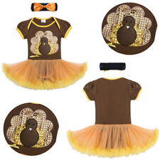 Girls Bling Turkey Outfit Clothes Toddler Baby Romper Tutu Dress with Headband