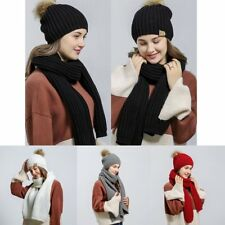 Women Fur Pom Ball Knit Crochet Baggy Bobble Hat + Scarf Beanie Cap Winter @G