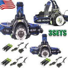 50000LM Zoom Headlamp XML T6 LED Headlight Flashlight+Charger+Rechargeable18650