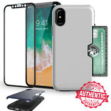 For Apple iPhone X Shockproof Card Case 4D Screen Protector Full Cover Case